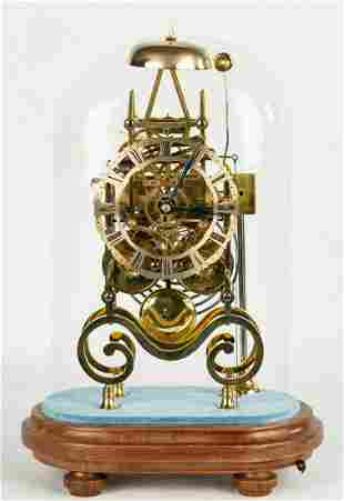 English Double Fusee Skeleton Clock