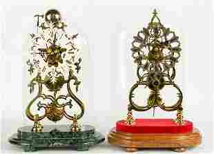 (2) English Fusee Skeleton Clocks