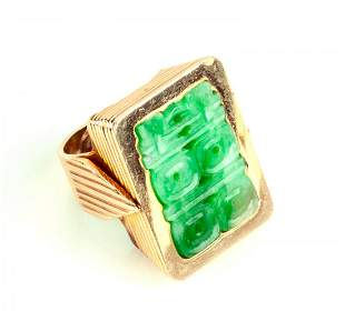 18K Gold and Carved Jade Ring