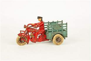 Hubley Cast Iron Indian Traffic Car Motorcycle