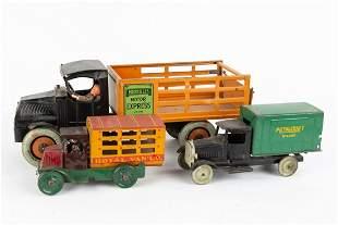 (3) Hercules Pressed Tin Stake Bed Truck, Metalcraft