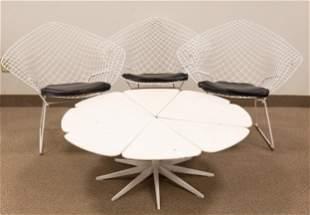 (3) Harry Bertoia Diamond Chairs & (1) Richard Schultz