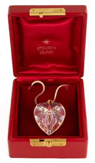Steuben Gold Mounted Heart Necklace