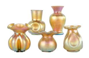 (5) Steuben Aurene Cabinet Vases