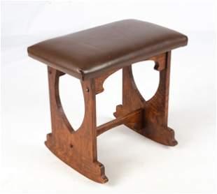 Style of Charles Rohlfs, Oak Rocking Stool