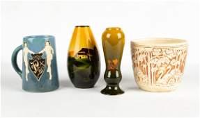 (4) Pieces of Weller & Roseville Art Pottery