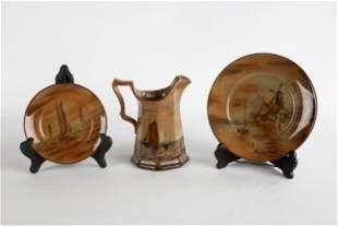 Abinoware Buffalo Pottery Pitcher & Plates