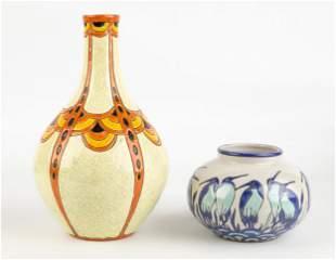 (4) Longwy for Atelier Primavera Faience Vases