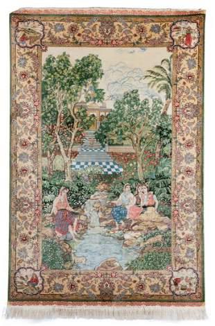Fine Vintage Silk Persian Pictorial Rug