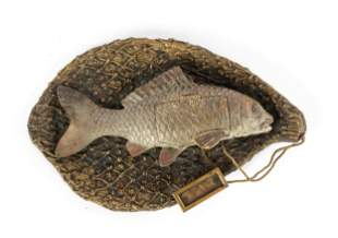 Bronze Fish Caught in Net Desk Stamp Holder