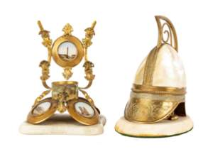 Grand Tour & Mother of Pearl Military Helmet Inkwell
