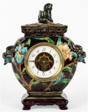 French Ceramic Enameled Clock by Eugene Farcot