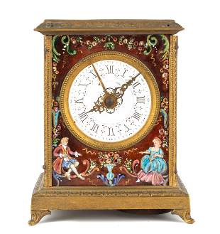 French Enameled Carriage Clock with Alarm