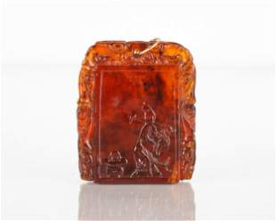 Chinese Carved Amber Pendant