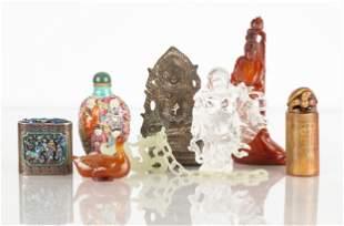 Chinese Snuff Bottles, Hardstone, Jade, Rock Crystal &