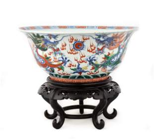Chinese Porcelain & Enameled Five Claw Dragon Bowl