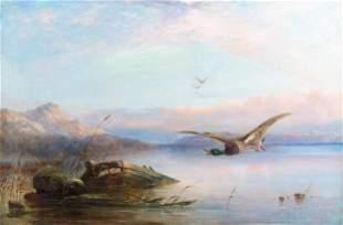 """Robert Henry Roe (British, 1793-1880) """"Wild Birds in"""