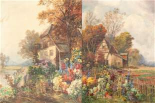 Karl Vikas (Austrian, 1875-1934) Pair of Garden Scene