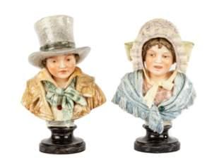 German Majolica Pottery Busts, Young Man & Woman