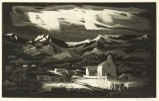 """Doel Reed (American, 1895-1985) """"Picuris Pueblo Winter"""""""