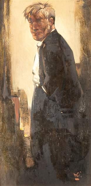 """Willem Van Den Berg (Dutch, 1886-1970) """"Man at Doorway"""""""