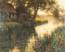 """Louis Aston Knight (American, 1873-1948) """"Cottage by"""