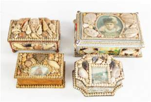 Group of Victorian Shell Art Boxes