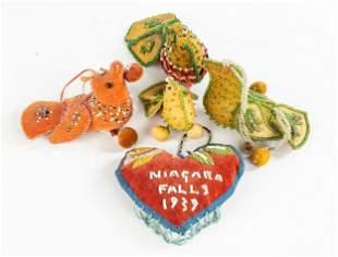 (5) Iroquois American Indian Beaded Pincushions