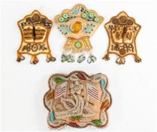 (4) Iroquois American Indian Beaded Pincushion & Match