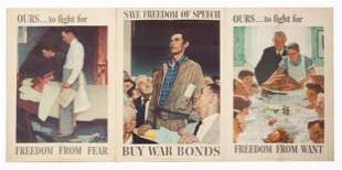 (3) Vintage Norman Rockwell - World War II Posters