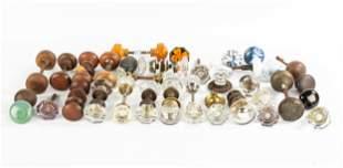 Group of Door Knobs & Pulls, Crystal, Wood, Porcelain