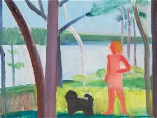 """Louisa Matthíasdóttir (1917–2000) """"Girl and Dog Maine"""""""