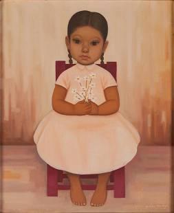 """Gustavo Montoya (1905-2003) """"Nina En Rosa con Flores"""""""