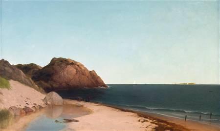 """John F. Kensett (American, 1816-1872) """"Singing  Beach &"""