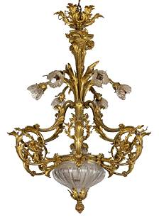 French Rocco Gilt Bronze Rock Crystal Chandelier