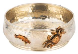 Gorham Sterling & Mixed Metal Bowl with Applied