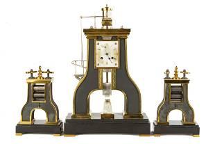 3 Piece French Industrial Steam Hammer Clock