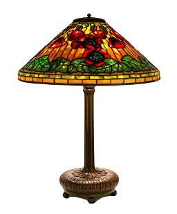 Tiffany Studios, New York Red Poppy Table Lamp