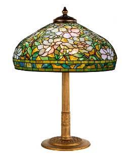 Rare Tiffany Studios, New York White Peony Table Lamp