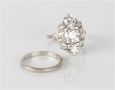 Ladies Platinum Vintage Diamond Ring and Band