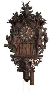 Rare Emilian Wehrle 5 Horn Trumpeter Wall Clock