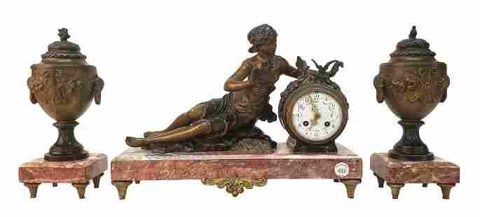 French Gilt Bronze Clock & Garniture