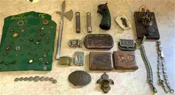 Group of Buttons, Belt Buckles, Match Safe, Coin Purse,