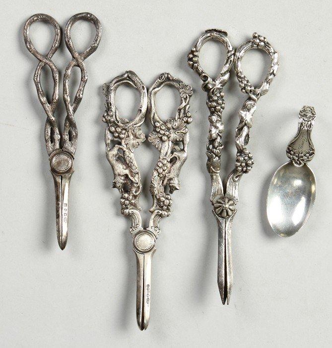 Sterling Spoon & 3 Grape Scissors