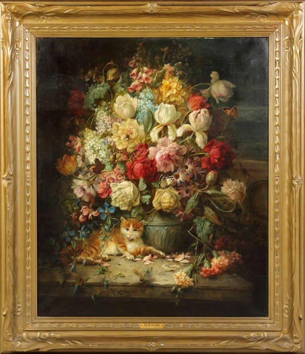 Hans Zatzka (Austrian, 1859-1945) Floral still life wit