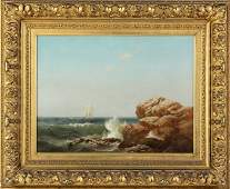 Warren Sheppard (American, 1858-1937) Rocky coast w/sai