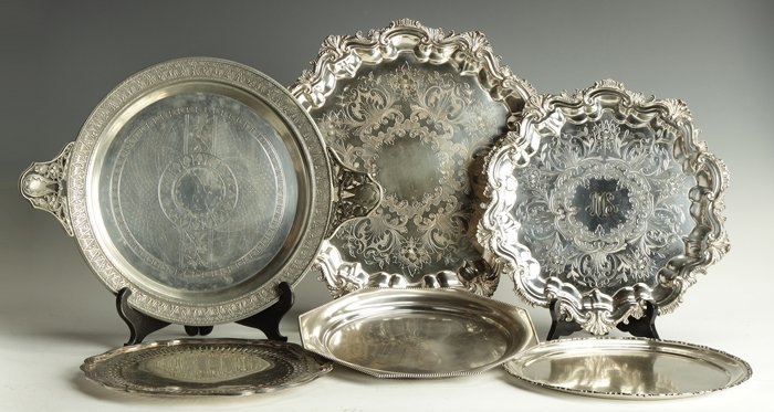 12: Group of 6 Silver Plate Trays
