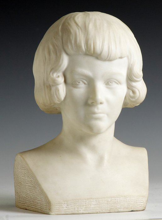 16: Carved Marble Sculpture together with Cast Marble P