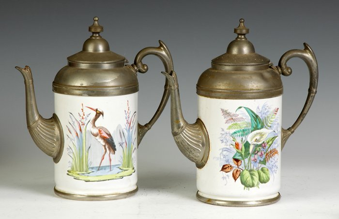 20: 2 Victorian Enameled & Pewter Coffee Pots