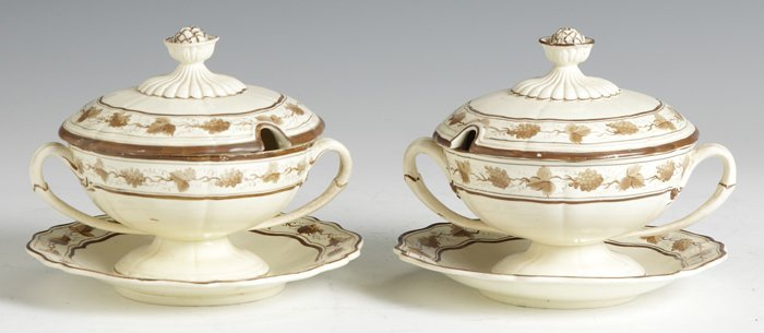 21: Early 19th Cent. Wedgwood Sauce Tureens w/Under tr